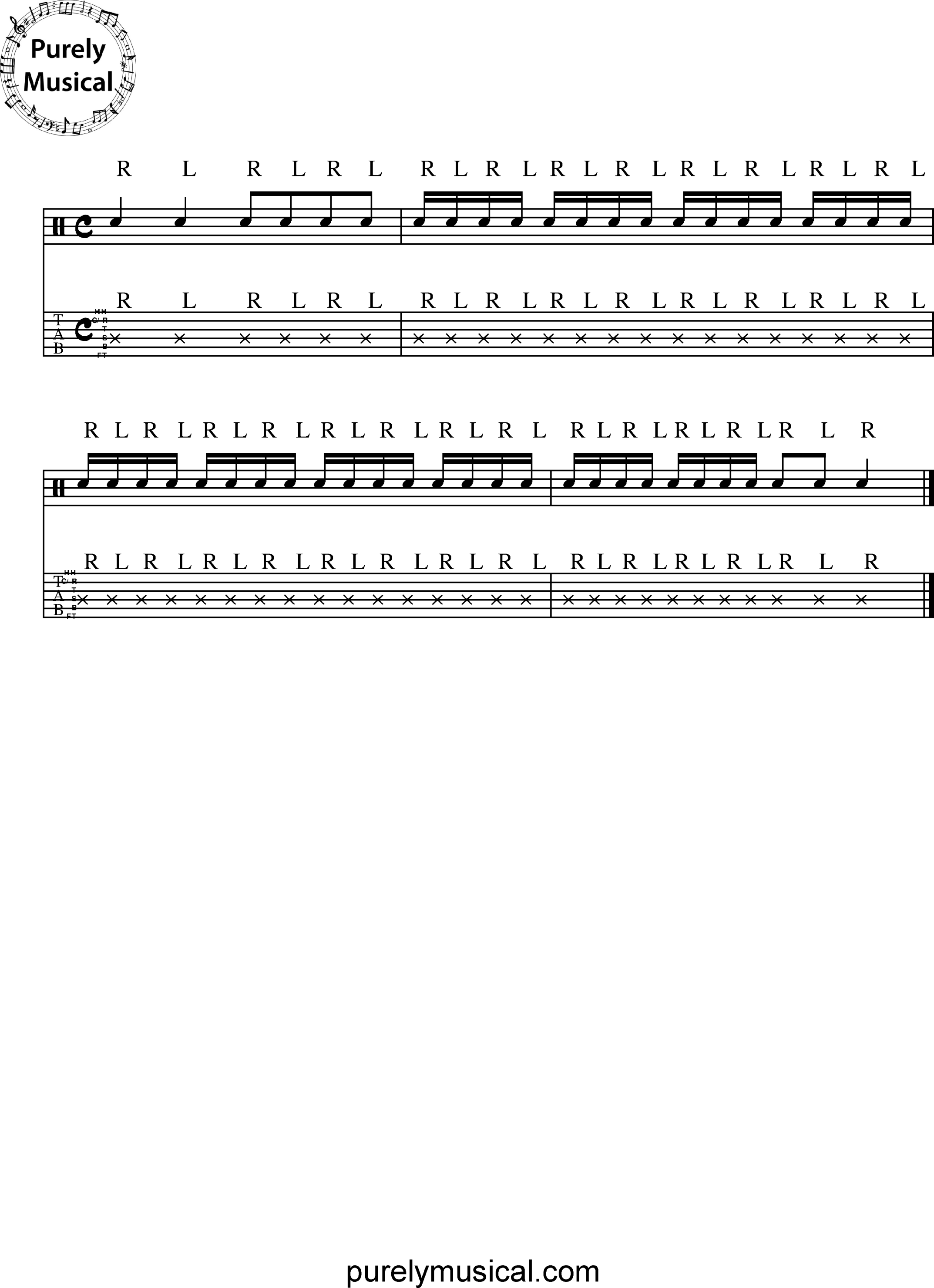 Beginner  Rudiments - Single Stroke Rudiments Single Stroke Roll - Snare Exercise No 1