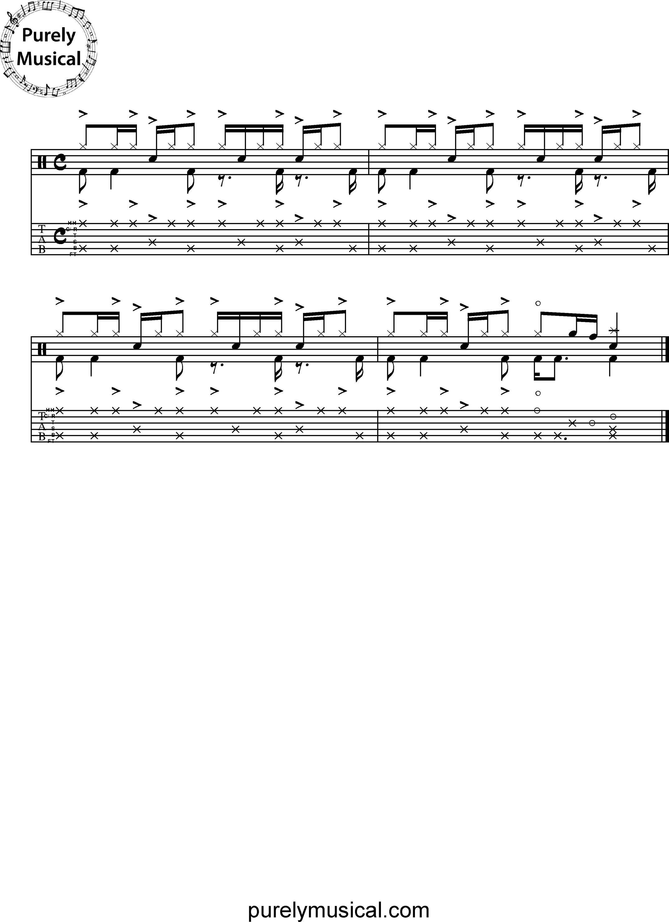 Advanced  Drum Grooves - Funk Grooves Hi-hat Variations Exercise No 1