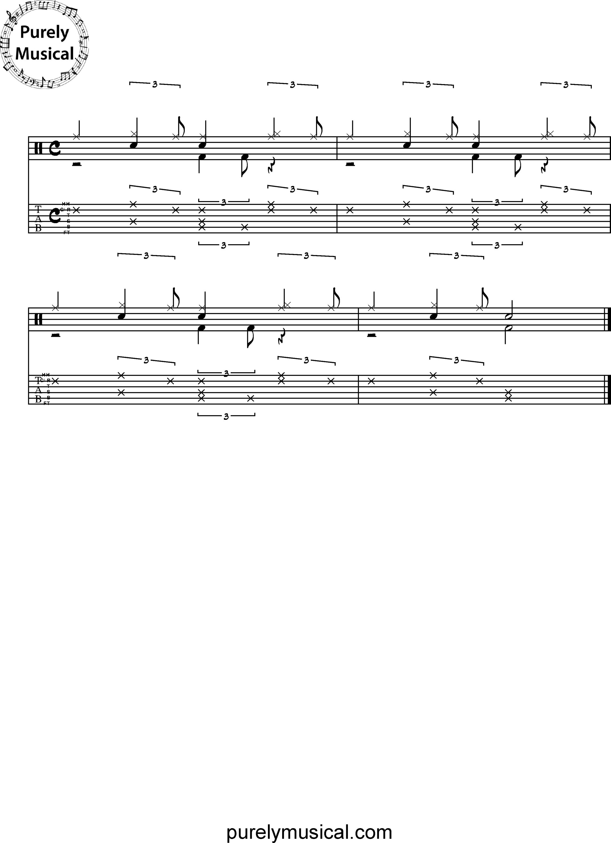 Beginner  Drum Grooves - Jazz Grooves Two-voice Exercise No 2