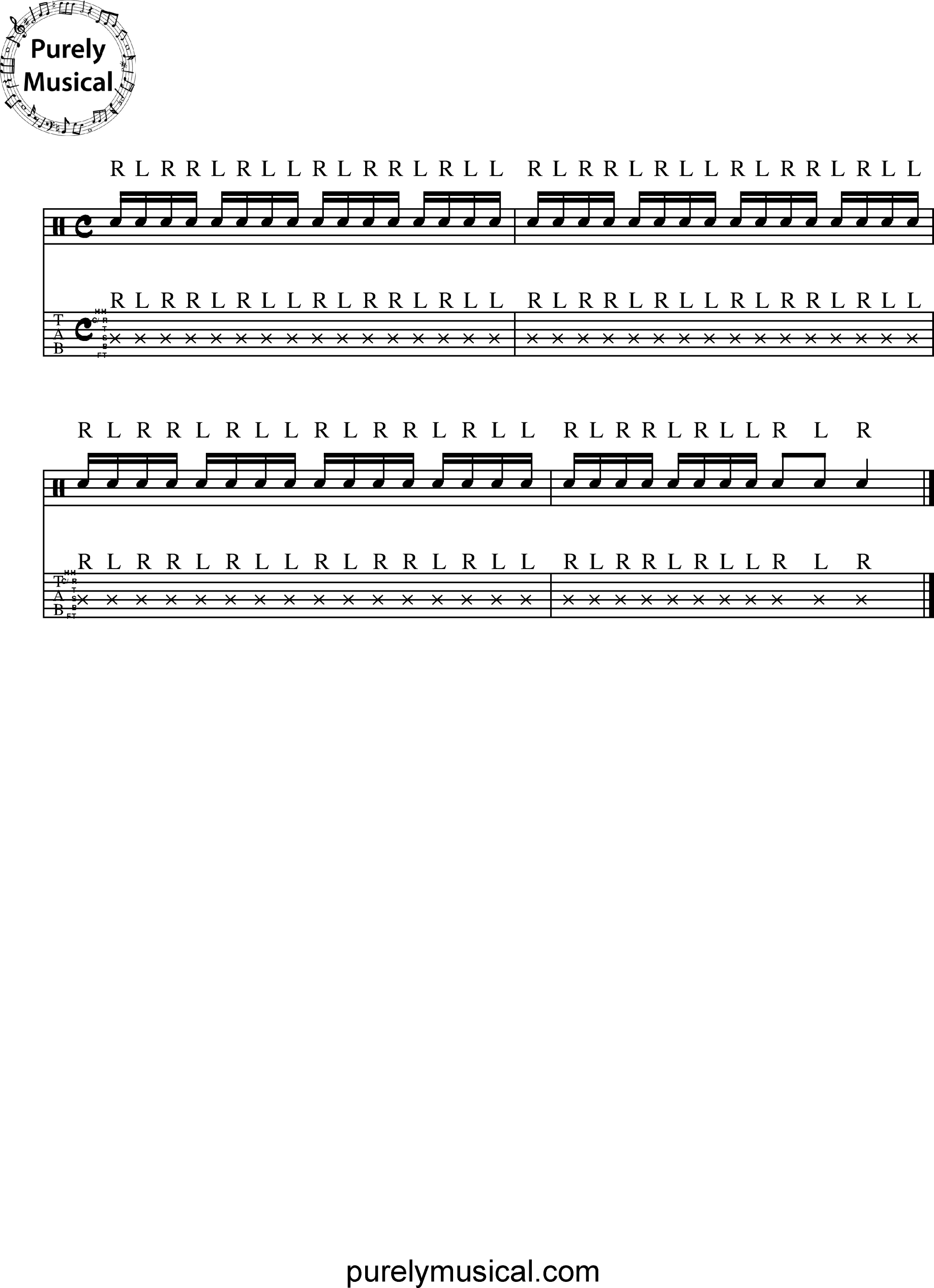 Intermediate  Rudiments - Paradiddle Rudiments Single Paradiddle Exercise No 1