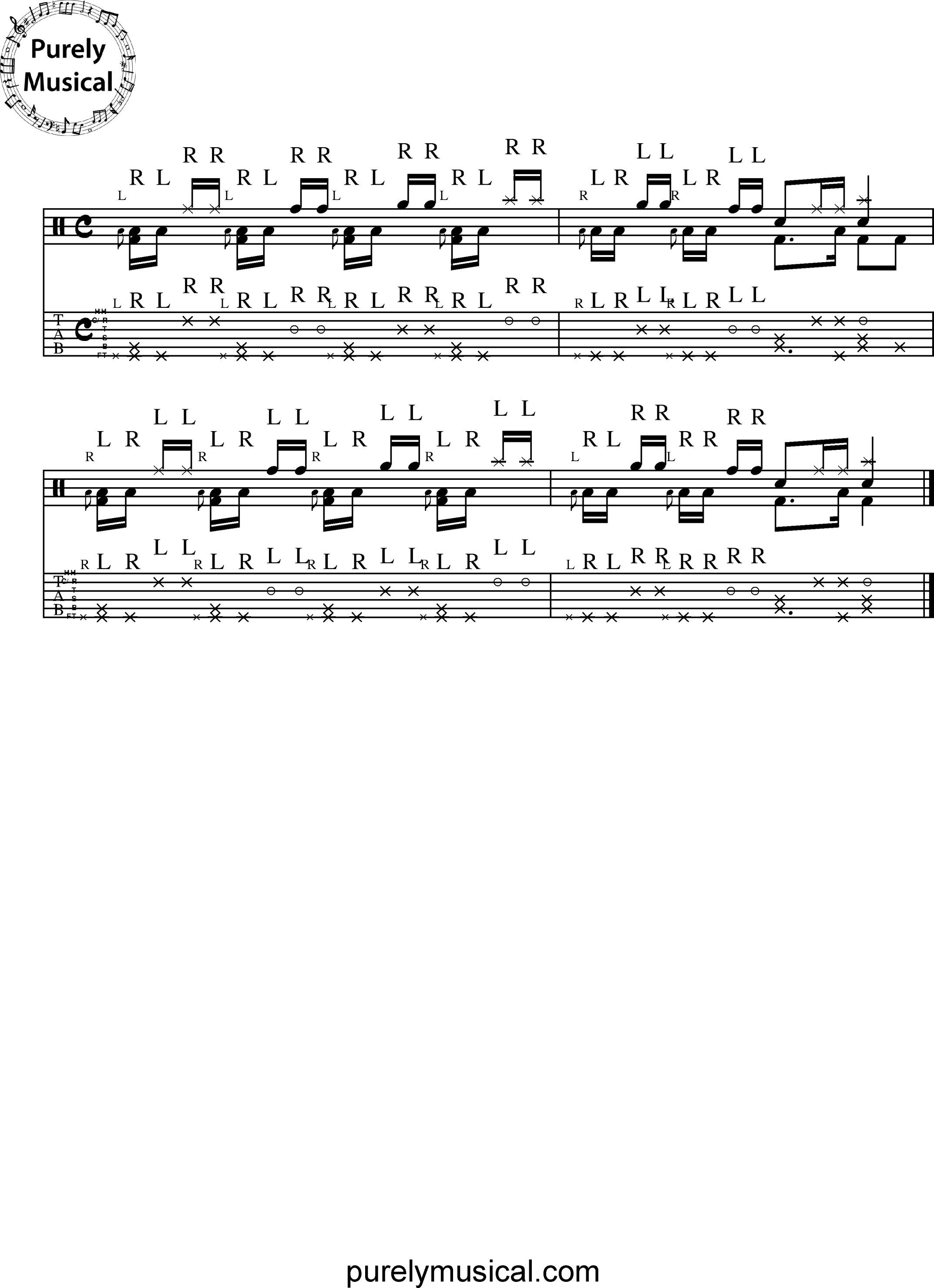 Advanced  Rudiments - Flam Based Rudiments Flam Paradiddle Exercise No 4