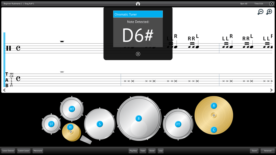 Purely Drums Screenshot Chromatic Tuner