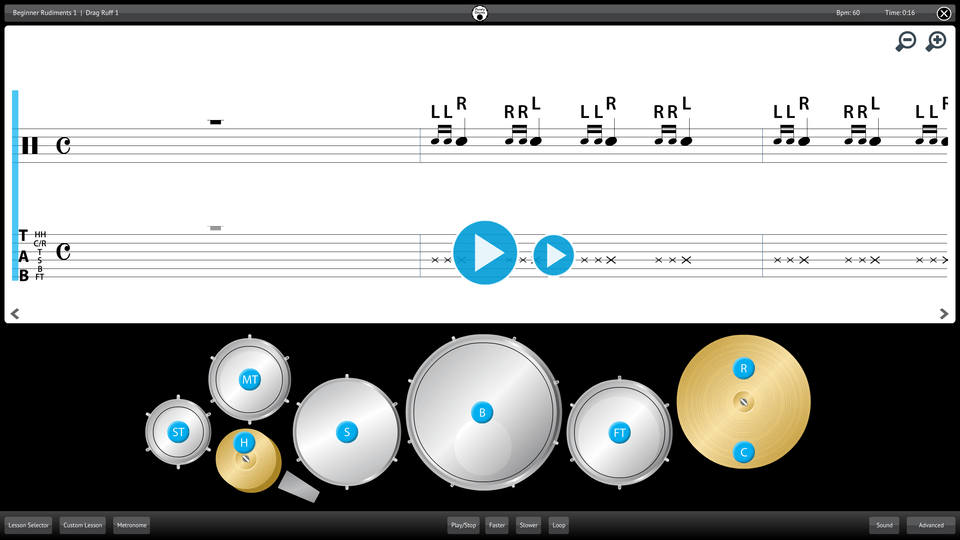 Purely Drums Screenshot Lesson Selector
