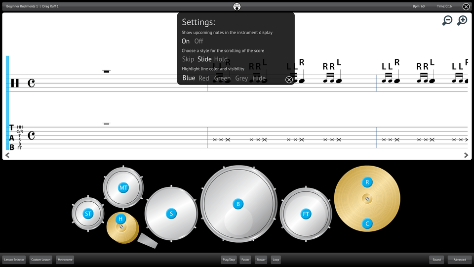 Purely Drums Screenshot Settings